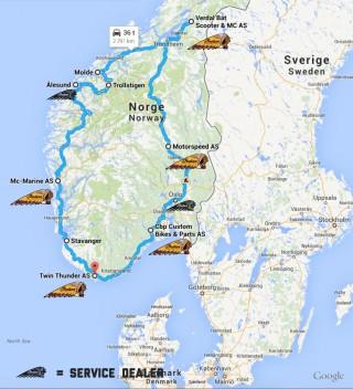 Norwegian Indian Motorcycle Dealer ride route